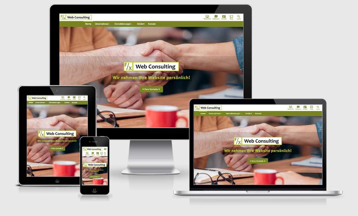 Screenshot: die neue Website von F/X Web Consulting