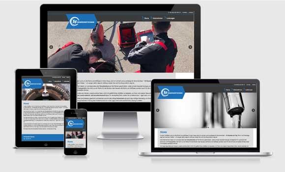 Screenshot der Website von SF Abwassertechnik