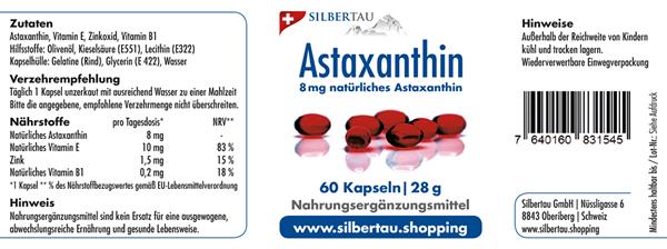 Natürliches Astaxanthin 8mg - 60 Softgel-Kapseln